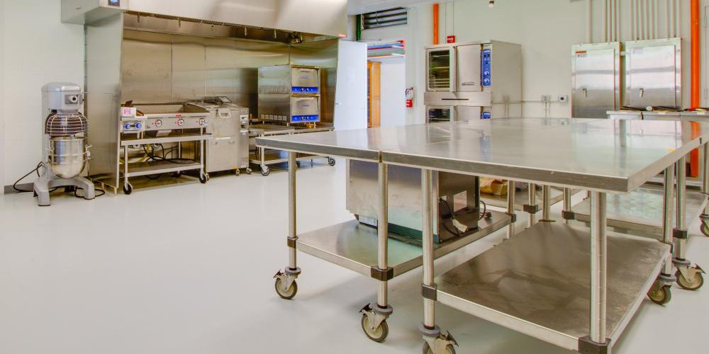 picture of the renovated kitchen at the pilot processing plant