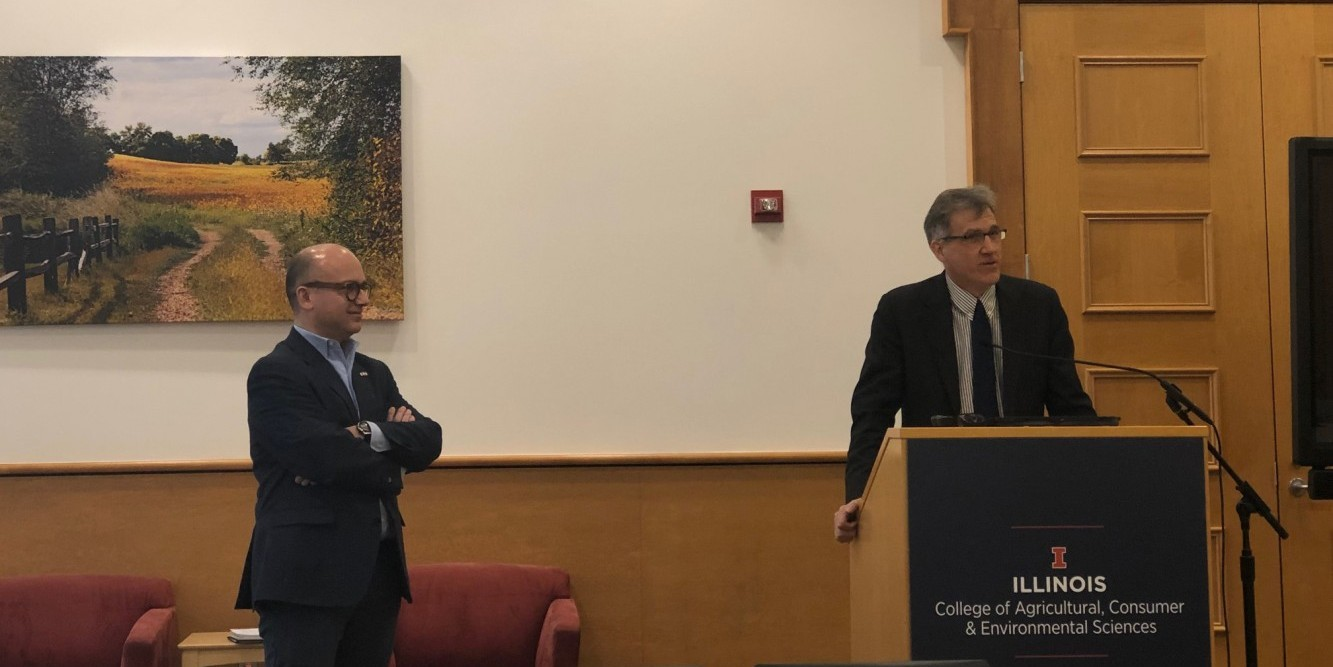 Alex Winter-Nelson introduces Guillaume Lacroix, Consul Général of France in Chicago