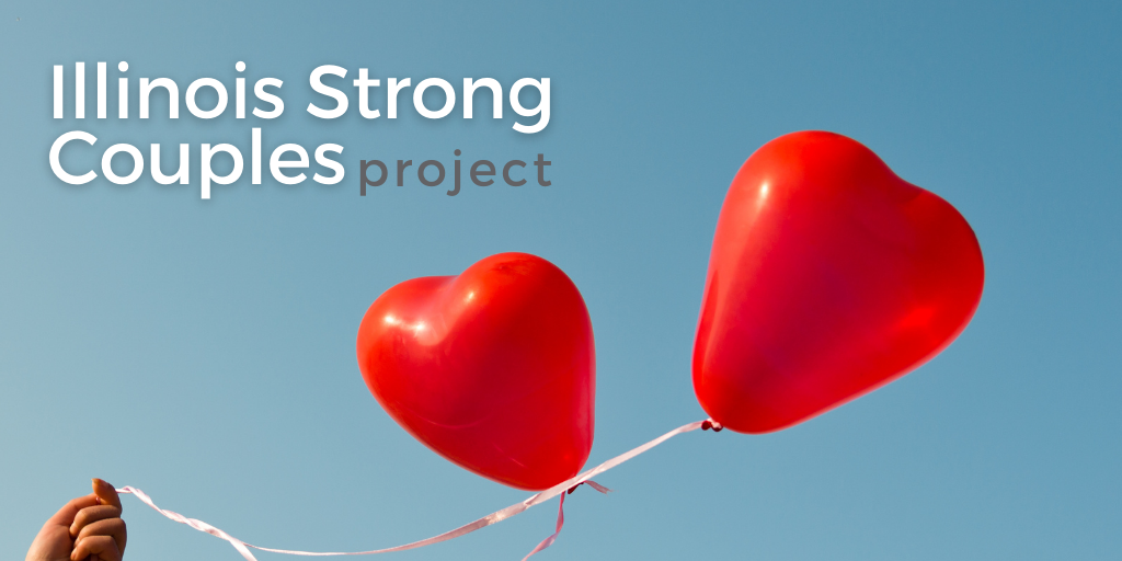 Illinois Strong Couples graphic with red heart balloons