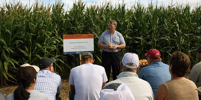 Emerson Nafziger speaks at a field day