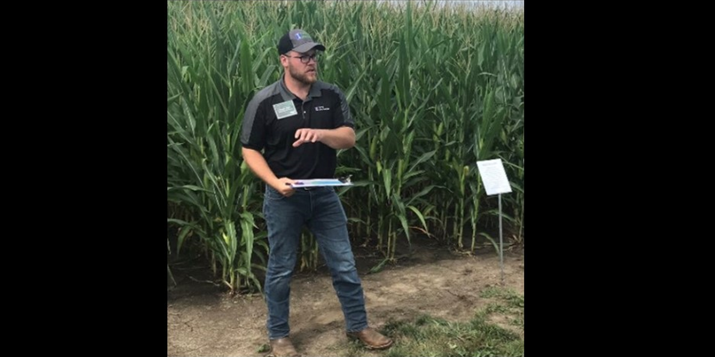 Connor Sible presenting at a field day