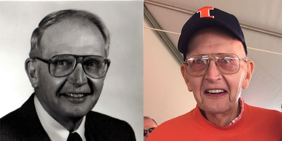 side by side pictures of Wessels when he was dean and later in life at a university event