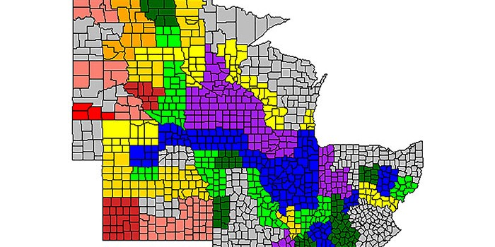 Map of the midwestern states with counties colored in according to grain quality