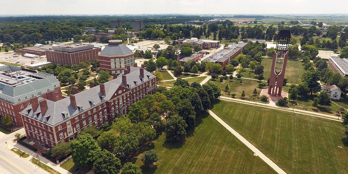 aerial shot of the south quad