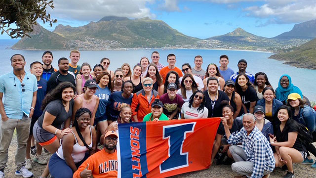 ACES students representing Illinois on a study abroad excursion.