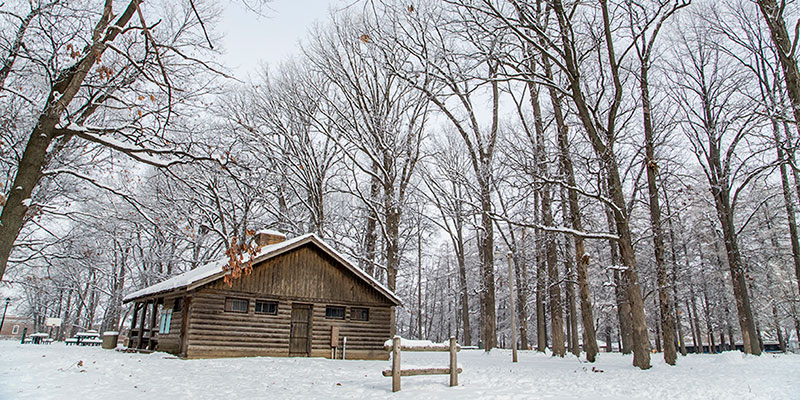 Illini grove and the shelter house during winter