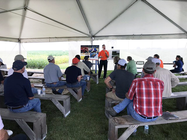 Adam Davis presents research at Agronomy Day 2018
