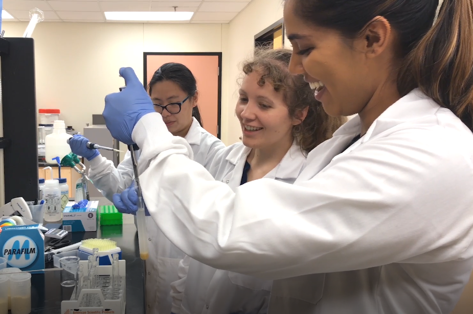 Carrie Butts-Wilmsmeyer, center, works with students in the lab
