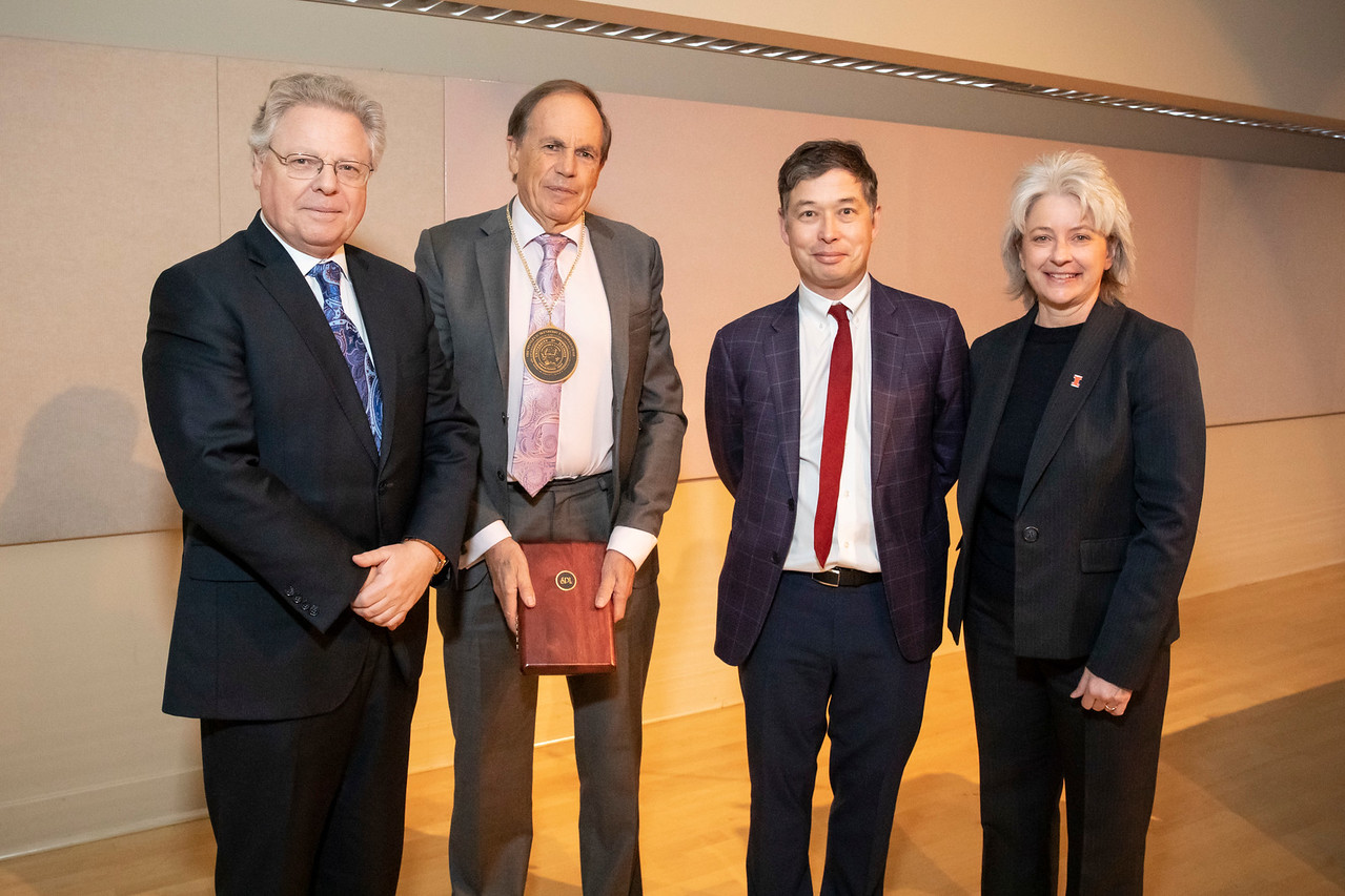From left to right: Provost Andreas Cangellaris, Ikenberry Endowed Chair Stephen Long, Associate Dean Matthew Ando, and Dean Kim Kidwell