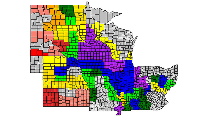Average corn grain quality across the Midwest, with red areas showing the highest-protein levels graduating to purple, showing the lowest protein but highest yields.