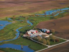 aerial of farm on Embarras River