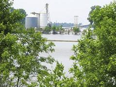 This 2011 photo shows a flooded grain terminal on the Mississippi River north of Birds Point, Missouri.