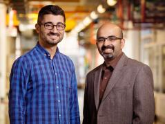 ABE postdoctoral researcher Erkan Kayacan left and Agricultural and biological engineering professor Girish Chowdhary