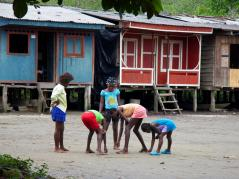 Children on streets of community near the Anchicaya River in Colombia
