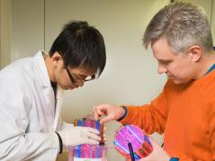 Schideman and graduate student Chih-Ting Kuo work with algal biomass
