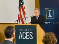 """U.S. Senator Richard """"Dick"""" Durbin announces that the U of I will be receiving a $25 million federal grant to increase Africa's food supply through soybean research."""