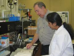 Dr. Hymowitz in the lab