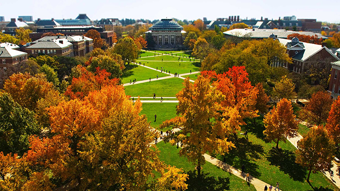 Birdseye view of the quad with fall foliage