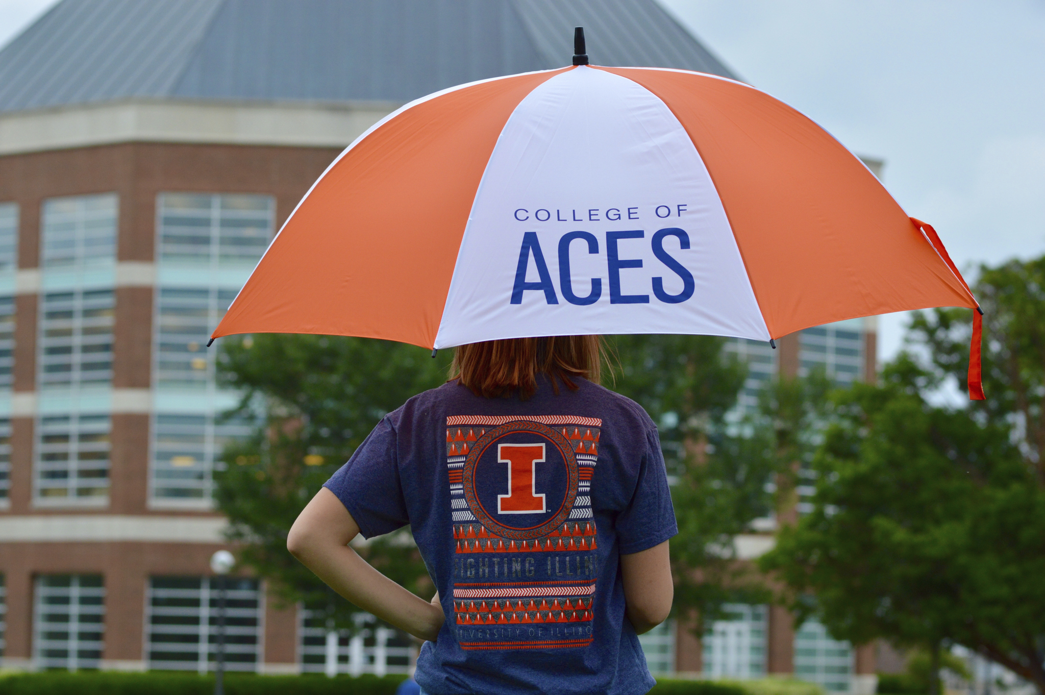 Girl with ACES umbrella