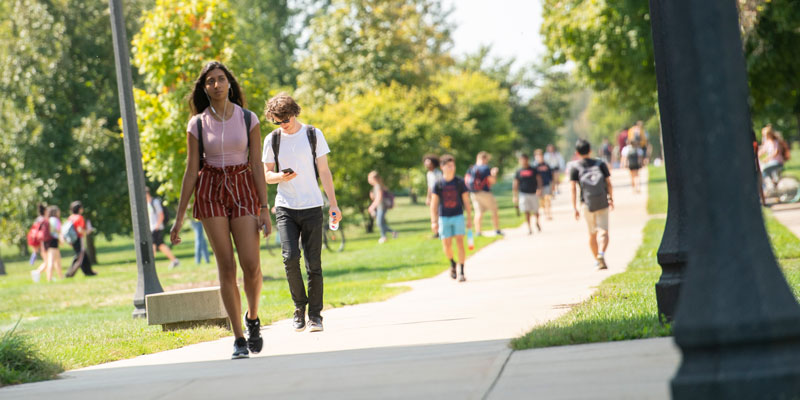 Students walking on ACES campus